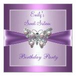 Mariposa de color de malva púrpura de la perla 16 invitación 13,3 cm x 13,3cm