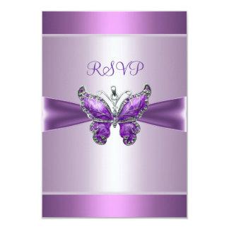 "Mariposa de color de malva púrpura de la tarjeta invitación 3.5"" x 5"""