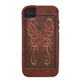 Mariposa de cuero roja compleja Case-Mate iPhone 4 funda