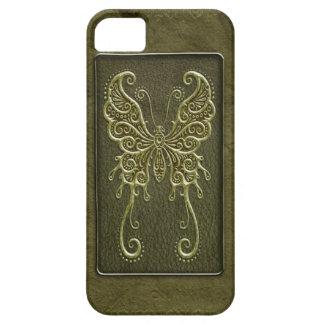 Mariposa de cuero verde compleja iPhone 5 Case-Mate cárcasas