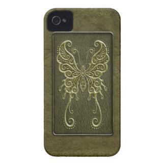 Mariposa de cuero verde compleja iPhone 4 fundas