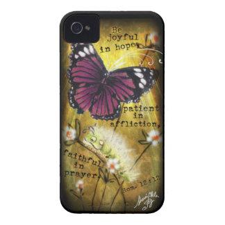 """Mariposa de Fuschia y caso de Caterpillar """"JO"""" IPh iPhone 4 Cárcasa"""