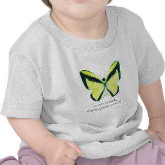Mariposa de Goliat Birdwing con nombre Camisetas