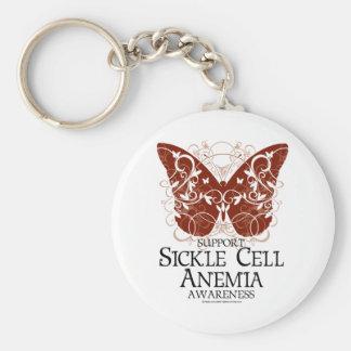 Mariposa de la anemia de la célula falciforme llavero redondo tipo pin