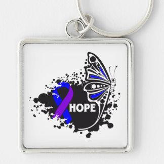 Mariposa de la artritis reumatoide de la esperanza llaveros personalizados
