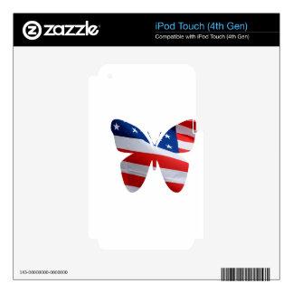 mariposa de la bandera iPod touch 4G calcomanía