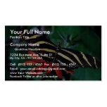 Mariposa de la cebra en la flor llameante mexicana plantillas de tarjetas de visita