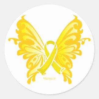 Mariposa de la cinta de la prevención del suicidio pegatina redonda