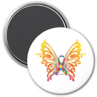 Mariposa de la cinta del autismo imán redondo 7 cm