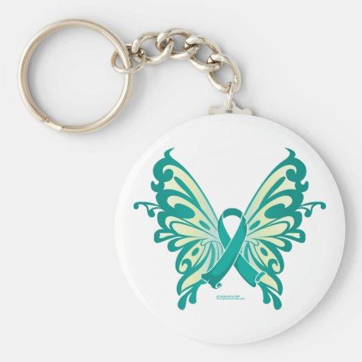 Mariposa de la cinta del cáncer ovárico llavero redondo tipo pin