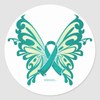 Mariposa de la cinta del cáncer ovárico pegatina redonda