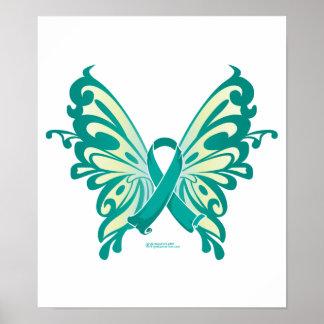 Mariposa de la cinta del cáncer ovárico póster