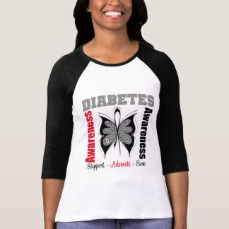 Mariposa de la conciencia de la diabetes camisetas