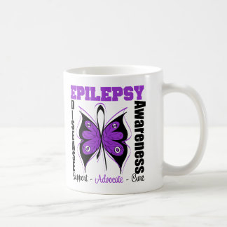 Mariposa de la conciencia de la epilepsia tazas