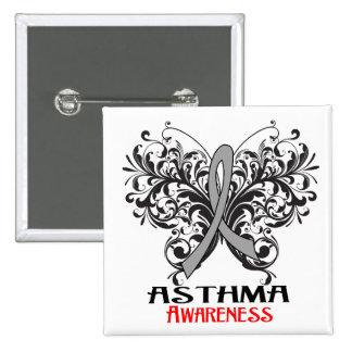 Mariposa de la conciencia del asma pin cuadrada 5 cm