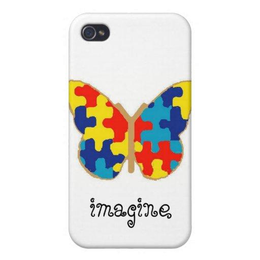 Mariposa de la conciencia del autismo iPhone 4/4S fundas