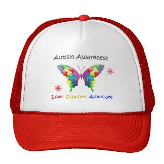 Mariposa de la conciencia del autismo gorras de camionero