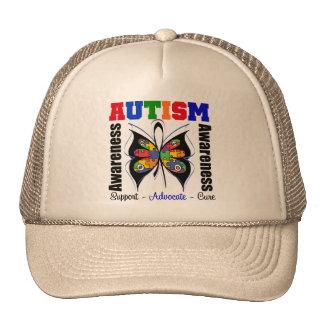 Mariposa de la conciencia del autismo gorro de camionero