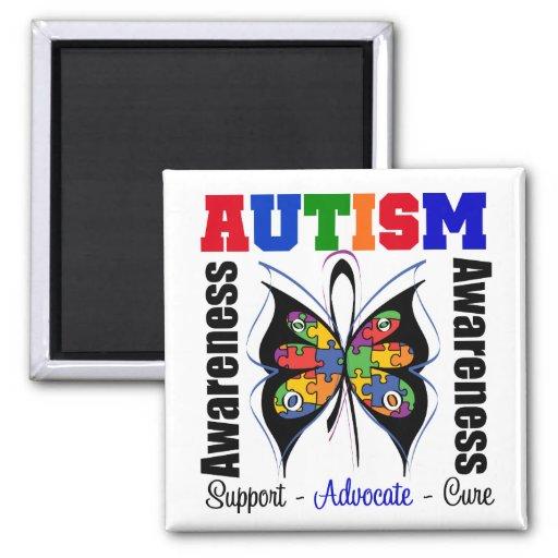 Mariposa de la conciencia del autismo iman de nevera