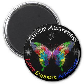 Mariposa de la conciencia del autismo imán redondo 5 cm