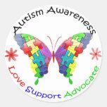 Mariposa de la conciencia del autismo pegatinas redondas