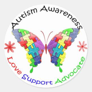 Mariposa de la conciencia del autismo pegatina redonda
