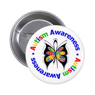 Mariposa de la conciencia del autismo pin redondo 5 cm