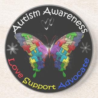 Mariposa de la conciencia del autismo posavasos de arenisca