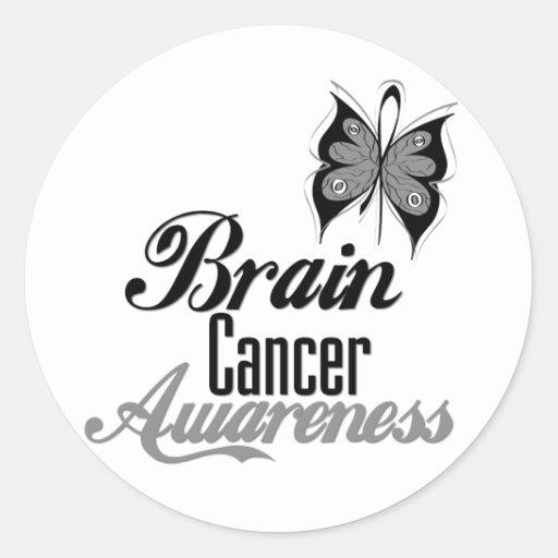 Mariposa de la conciencia del cáncer de cerebro pegatina redonda