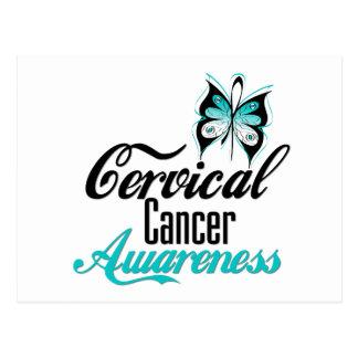 Mariposa de la conciencia del cáncer de cuello del tarjeta postal