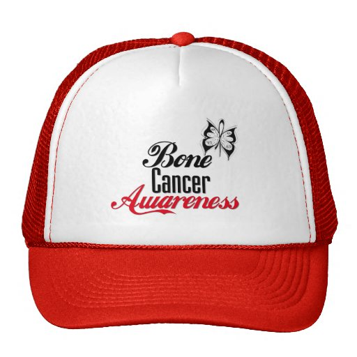 Mariposa de la conciencia del cáncer de hueso gorros bordados
