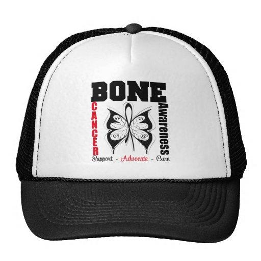Mariposa de la conciencia del cáncer de hueso gorras de camionero