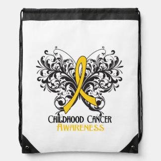 Mariposa de la conciencia del cáncer de la niñez mochilas