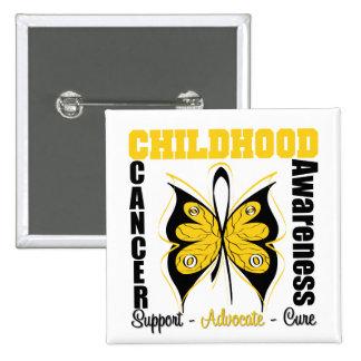 Mariposa de la conciencia del cáncer de la niñez pin cuadrada 5 cm