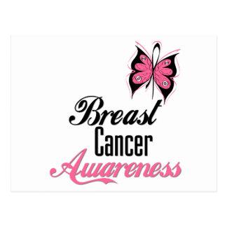 Mariposa de la conciencia del cáncer de pecho postal