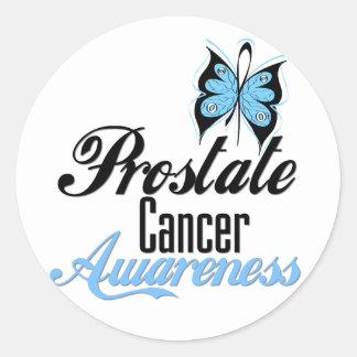Mariposa de la conciencia del cáncer de próstata pegatina redonda