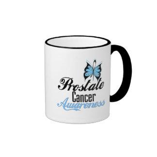 Mariposa de la conciencia del cáncer de próstata taza de café