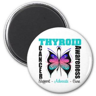 Mariposa de la conciencia del cáncer de tiroides imanes para frigoríficos