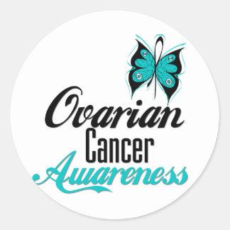 Mariposa de la conciencia del cáncer ovárico etiquetas redondas