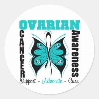 Mariposa de la conciencia del cáncer ovárico etiqueta redonda