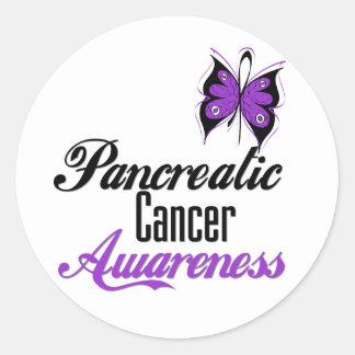 Mariposa de la conciencia del cáncer pancreático etiquetas redondas
