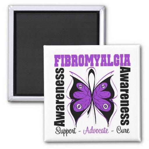 Mariposa de la conciencia del Fibromyalgia Imán De Nevera