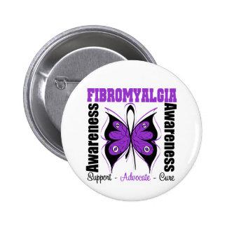 Mariposa de la conciencia del Fibromyalgia Pin Redondo 5 Cm