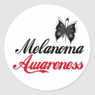 Mariposa de la conciencia del melanoma pegatina redonda
