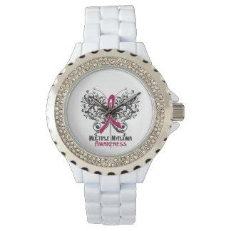Mariposa de la conciencia del mieloma múltiple relojes de pulsera
