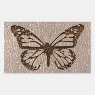 Mariposa de la Cuero-Mirada suave Pegatina Rectangular
