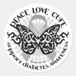 Mariposa de la diabetes tribal pegatina redonda