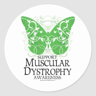 Mariposa de la distrofia muscular pegatina redonda