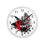 Mariposa de la enfermedad cardíaca de la esperanza reloj de pared