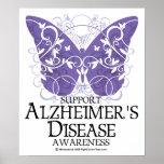 Mariposa de la enfermedad de Alzheimer Poster